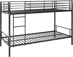 Vidaxl łóżko Piętrowe Dla Dzieci Z Czarną Metalową Ramą 200x90 Cm