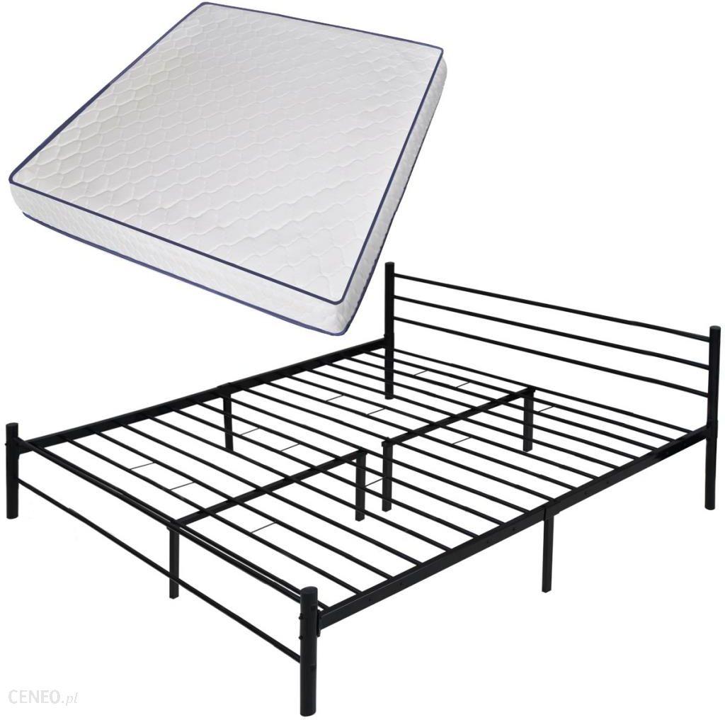Vidaxl Podwójne łóżko Z Metalową Ramą I Materacem Memory Foam 180x200