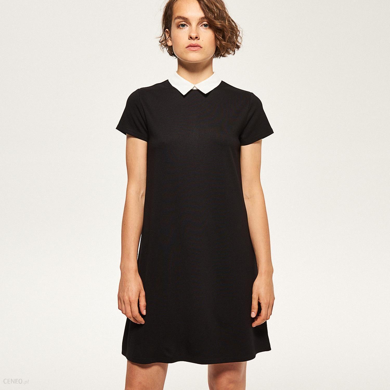 14e54a60ad Reserved - Elegancka sukienka z białym kołnierzem - Czarny - Ceny i ...