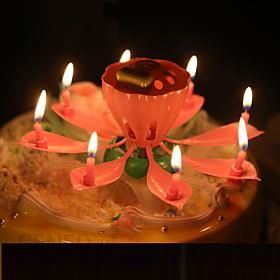 Single Layer Lotus Music Birthday Candles Fashion Flowers Party