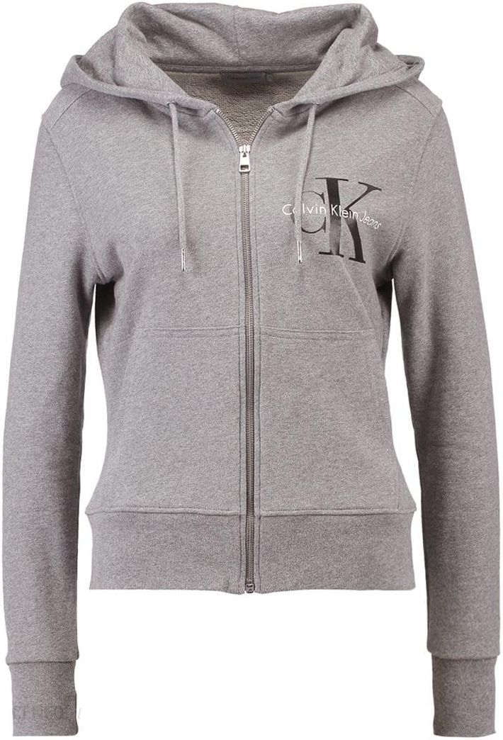 Calvin Klein Jeans HALI TRUE ICON ZIP THRU Bluza z kapturem light grey heather