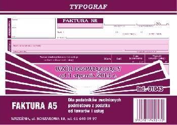 Typograf Druk Faktura Dla Podatników Zwolnionych Podmiotowo Z