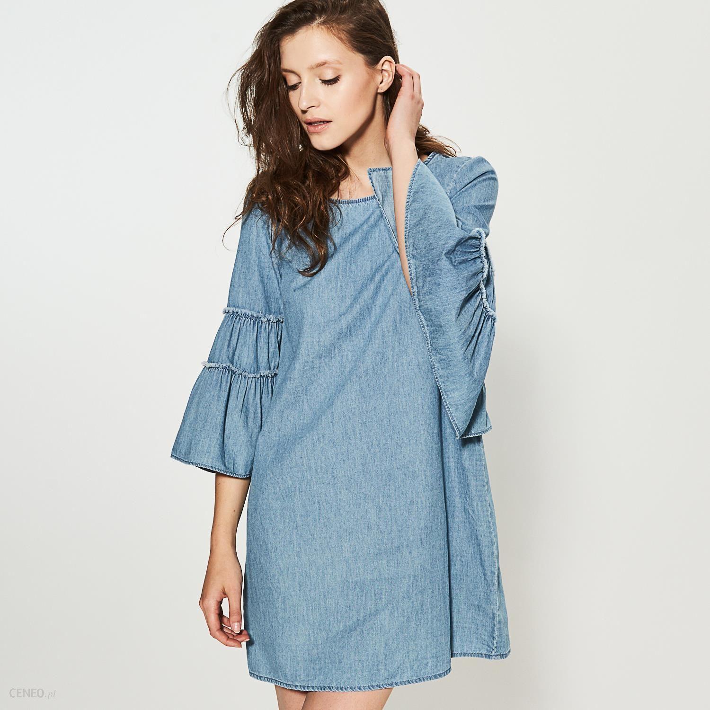 cebfd33a10 House - Denimowa sukienka z szerokimi rękawami - Niebieski - Ceny i ...