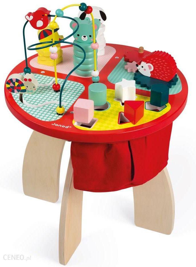 Janod Stolik Edukacyjny Duży Drewniany Baby Forest J08018