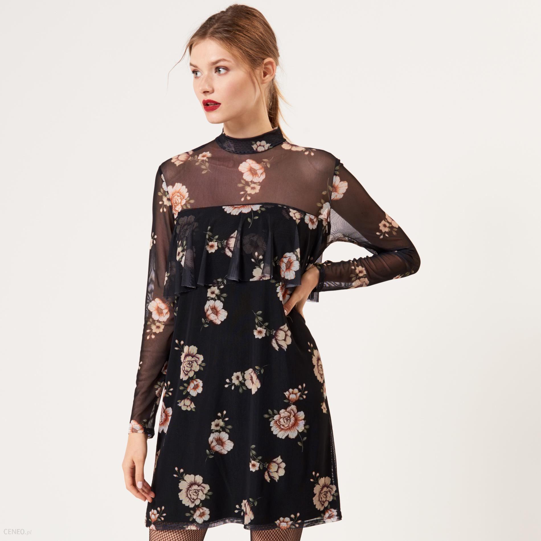 82afa0fd03 Mohito - Sukienka w kwiaty z siatką - Czarny - Ceny i opinie - Ceneo.pl