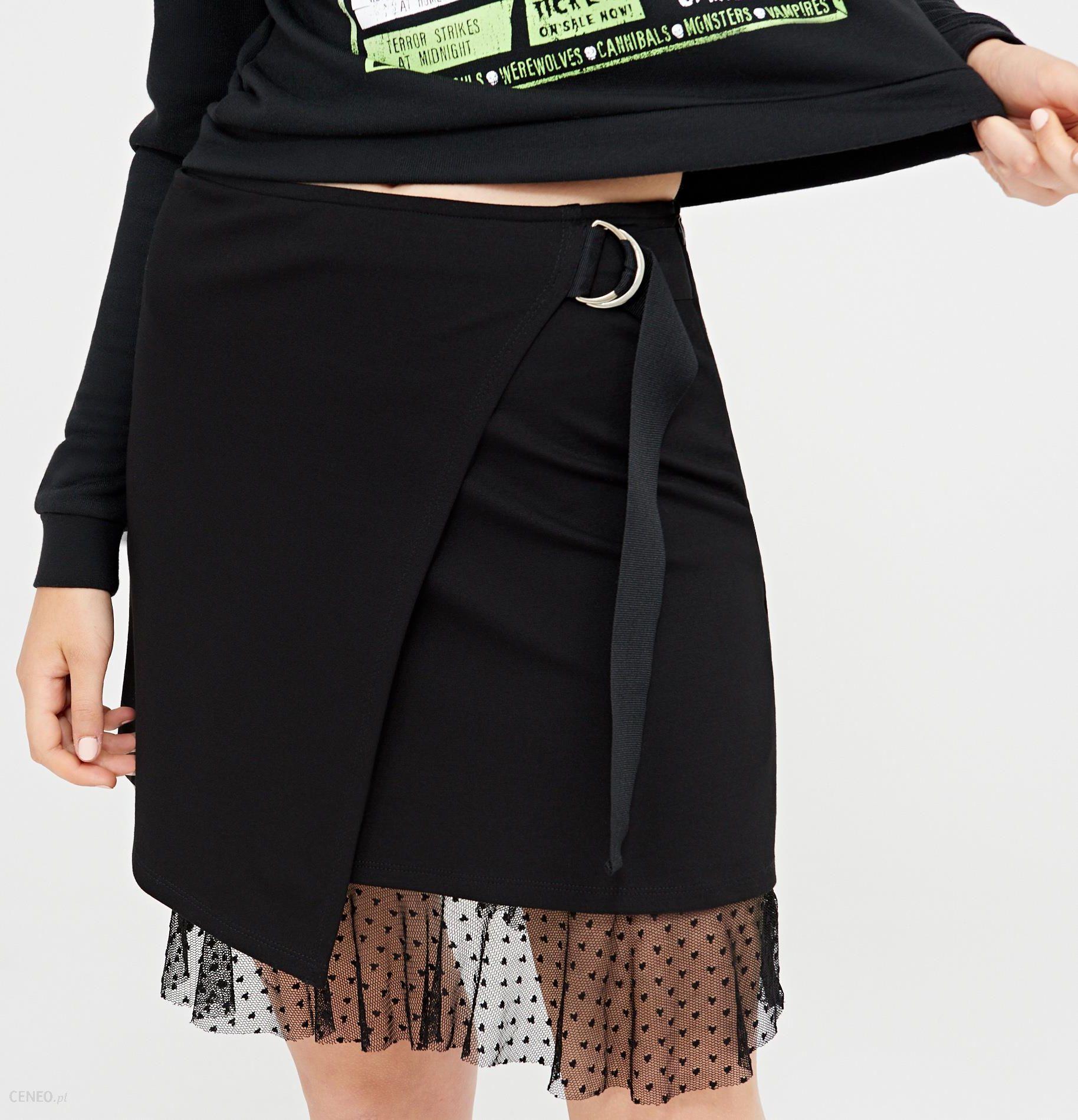 4b32c3a0 Cropp - Asymetryczna spódnica z taftą - Czarny