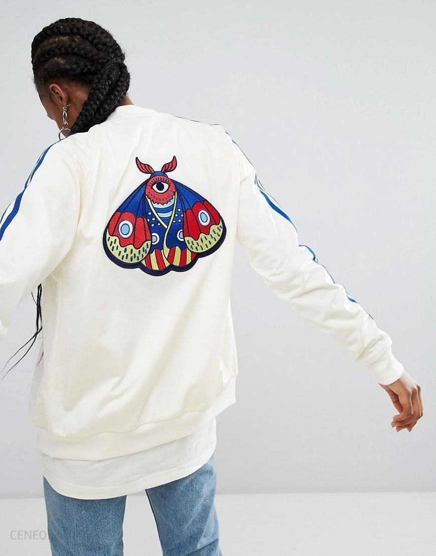 adidas Originals Embellished Arts Bomber Jacket With Butterfly Embroidery Cream