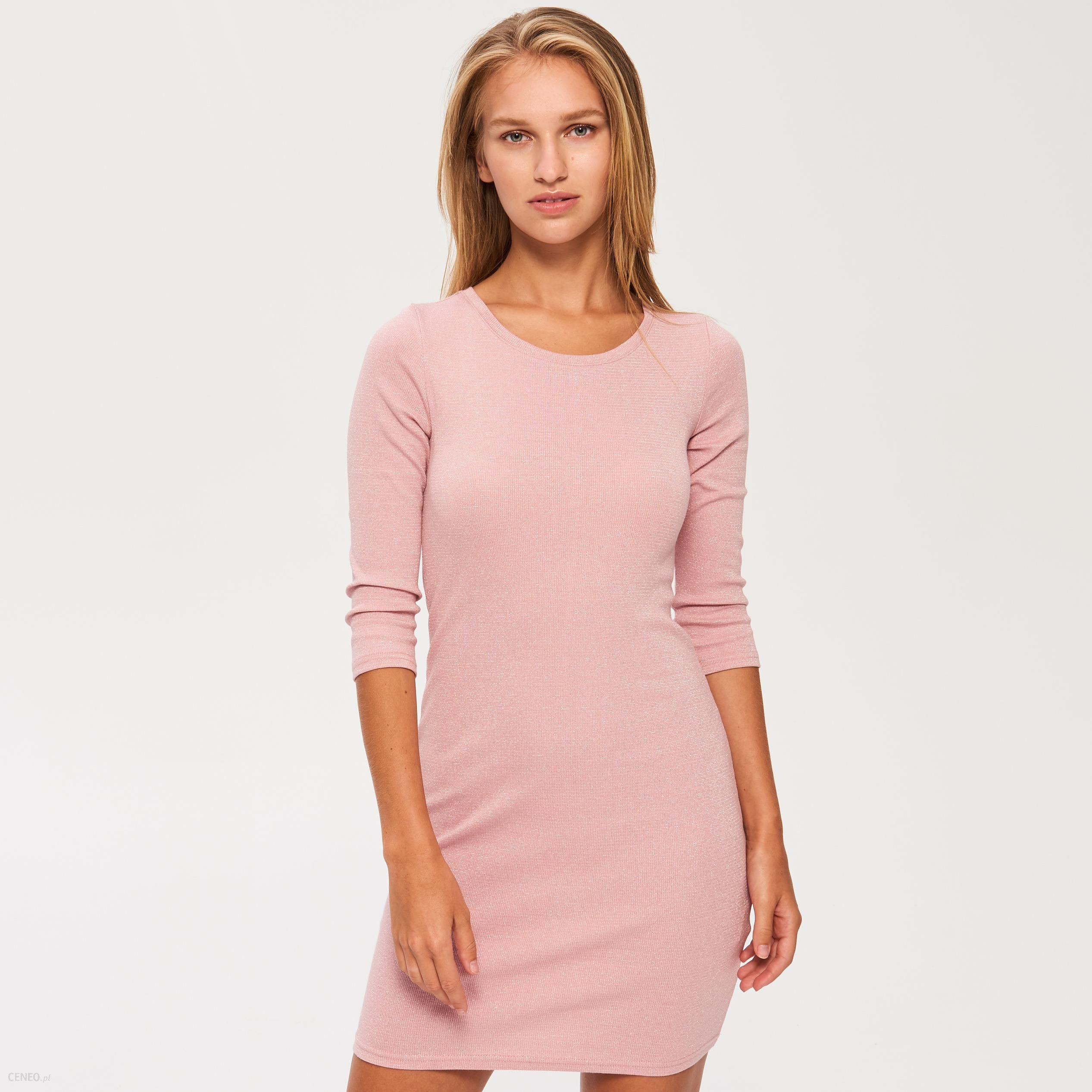 18d8a8eca0 Sinsay - Sukienka z dzianiny z błyszczącą nitką - Różowy - Ceny i ...