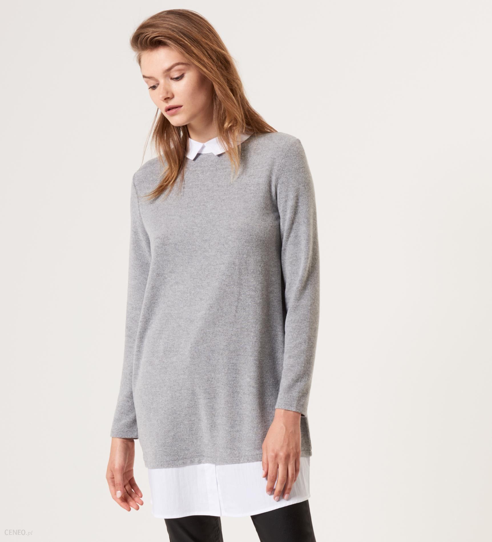 be080a87653f4e Mohito - Długi sweter z elementami koszuli - Szary - Ceny i opinie ...