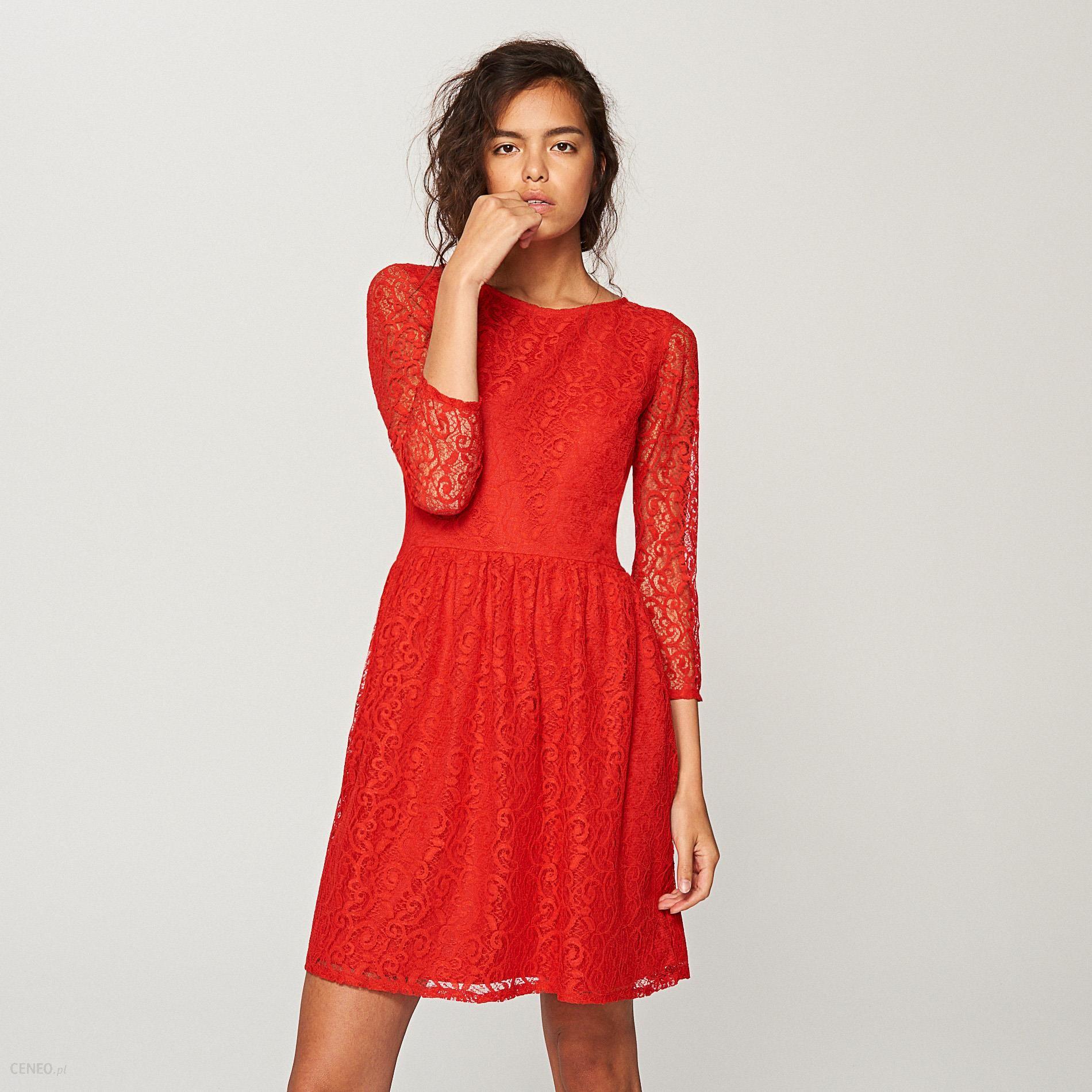 5d80a30d3a Reserved - Koronkowa sukienka - Czerwony - Ceny i opinie - Ceneo.pl