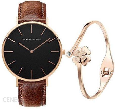 2ee08f885e03 Amazon xlordx Classic damski zegarek na rękę analogowy kwarcowy brązowy  złota bransoletka skórzana bransoletka