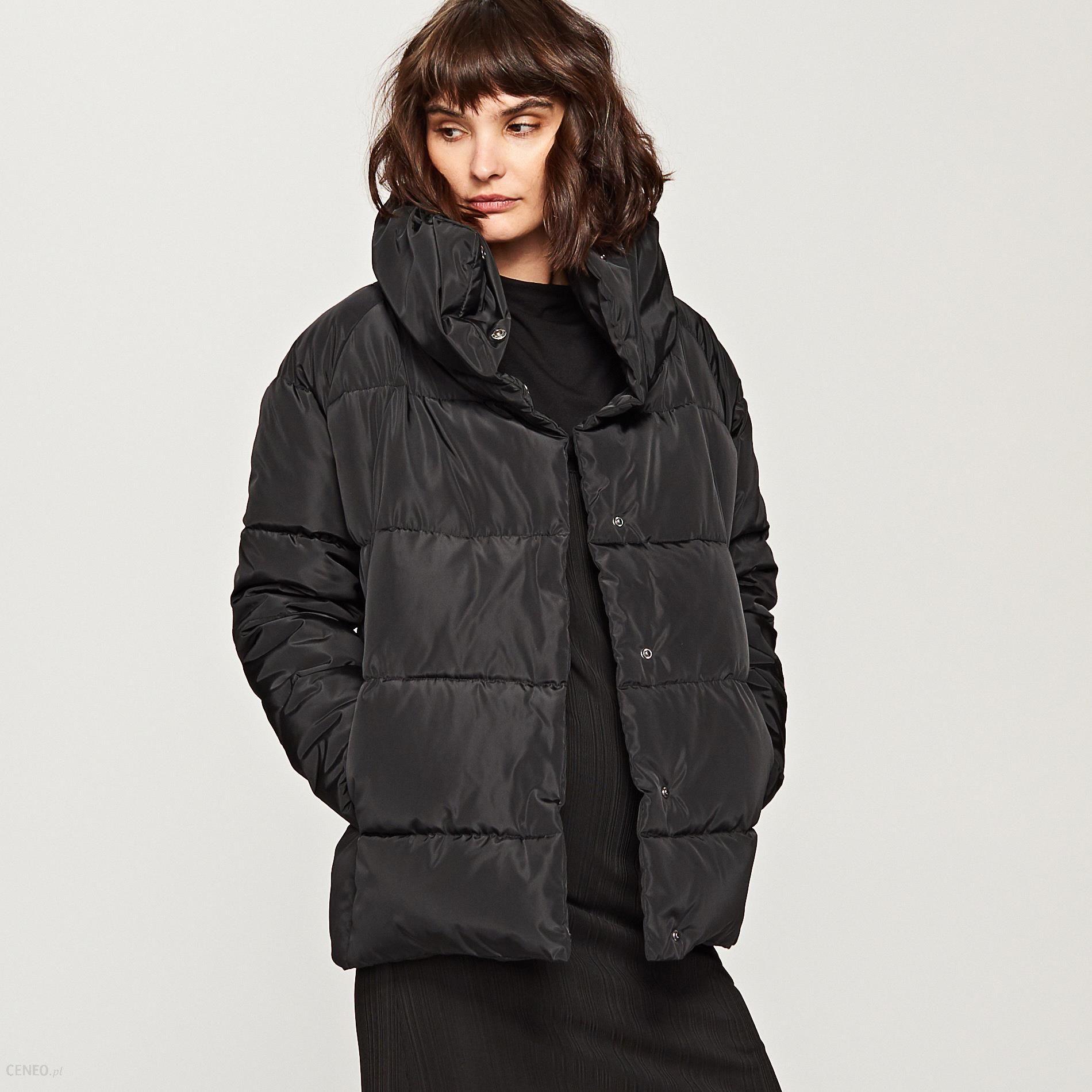 kurtka pikowana z kołnierzem czarna damska zara