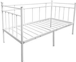 łóżko Metalowe Ze Stelażem 90x200 Biały
