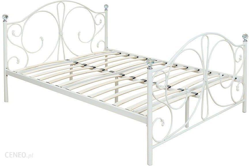 łóżko Metalowe Ze Stelażem Podwójne 160x200 Białe