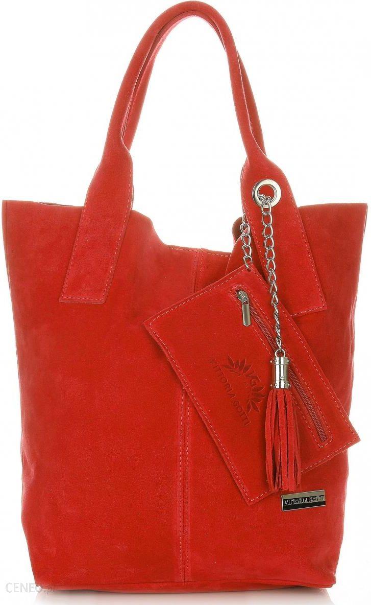 095f6d64a3005 Torebki Skórzane typu ShopperBag XL Włoskiej firmy Vittoria Gotti wykonane  z Wysokiej Jakości Zamszu Naturalnego Czerwona