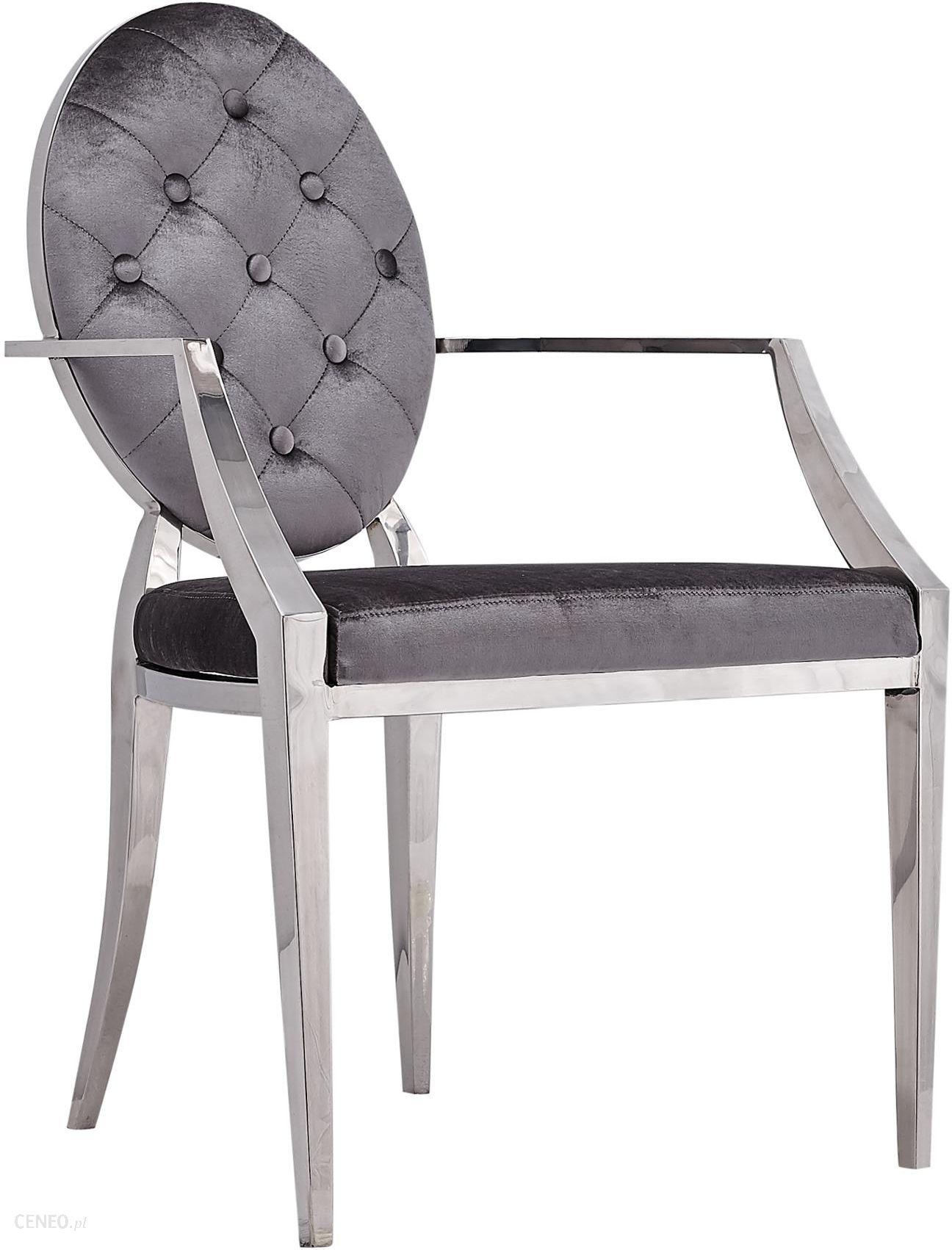 Wspaniały Fotel Szary Krzesło Chromowane Pikowane Glamour - Opinie i QH69