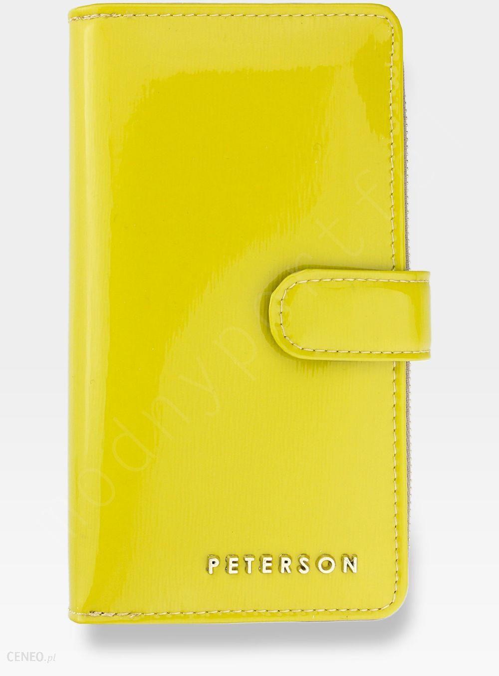 526a6701bc677 Portfel Damski Skórzany PETERSON Lakierowany 603 Żółty Błyszczący - zdjęcie  1