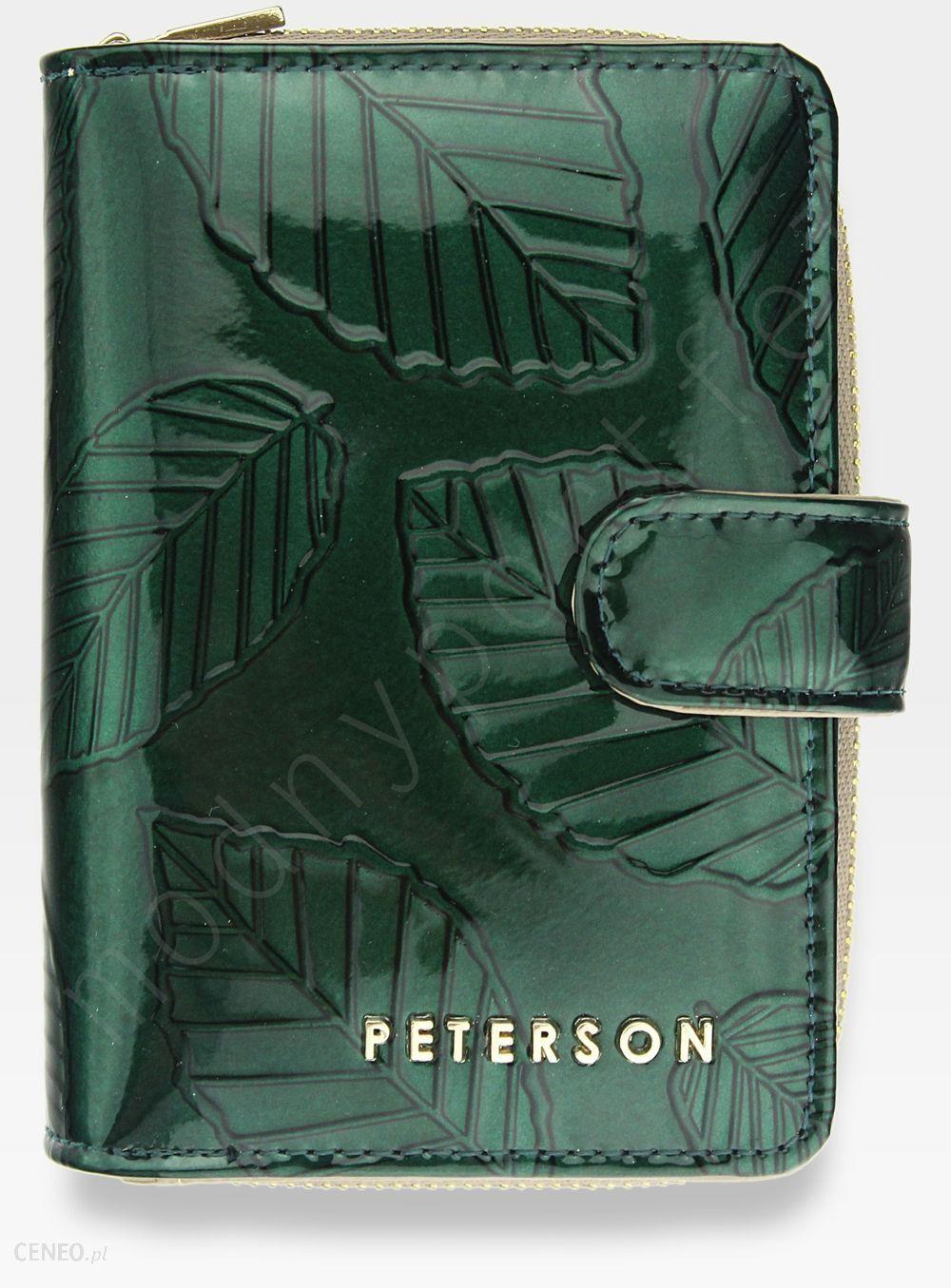 3091abfe62aa3 Portfel Damski Skórzany PETERSON Lakierowany Zielone Liście 602 - zdjęcie 1