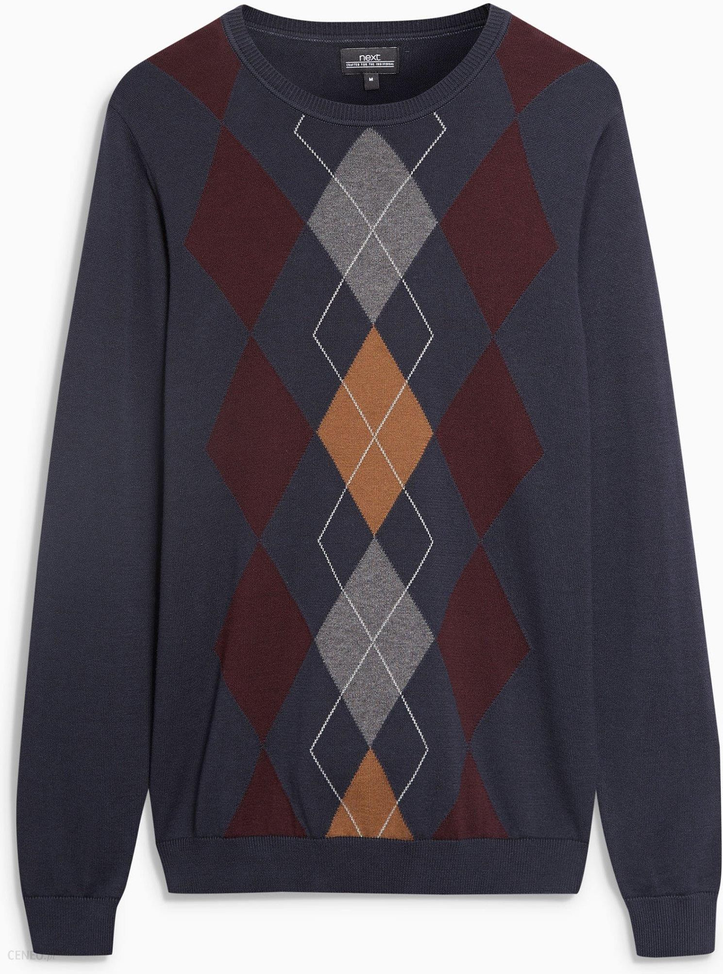 fda9bc68a7ce94 Next Sweter ze wzorem w romby Męski L - Ceny i opinie - Ceneo.pl