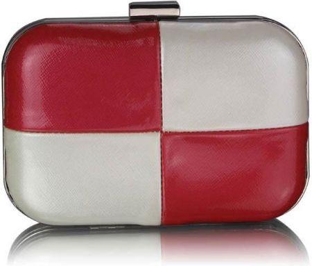 d5bbfe8baaaed Lakierowana torebka wizytowa biały z malinową czerwienią - czerwony