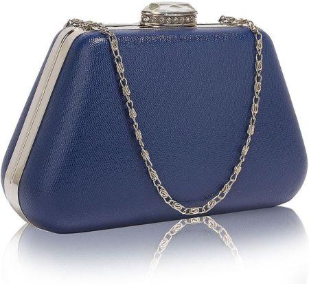 148becfce3bd0 Gładka torebka wizytowa z kryształowym zamknięciem ciemny niebieski -  niebieski