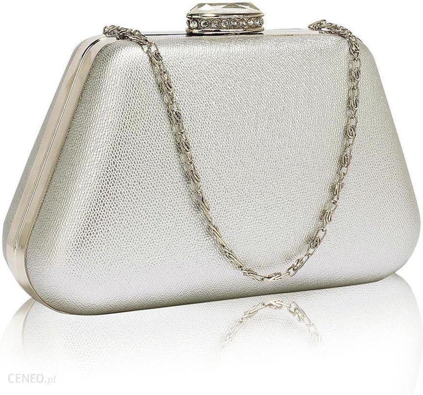 f41b5fd2125d9 Wytworna srebrna torebka wizytowa na wesele na ślub - srebrny - zdjęcie 1