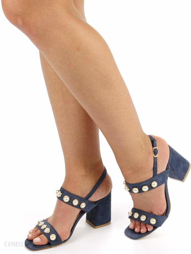 Granatowe sandały damskie na średnim obcasie Ceny i opinie