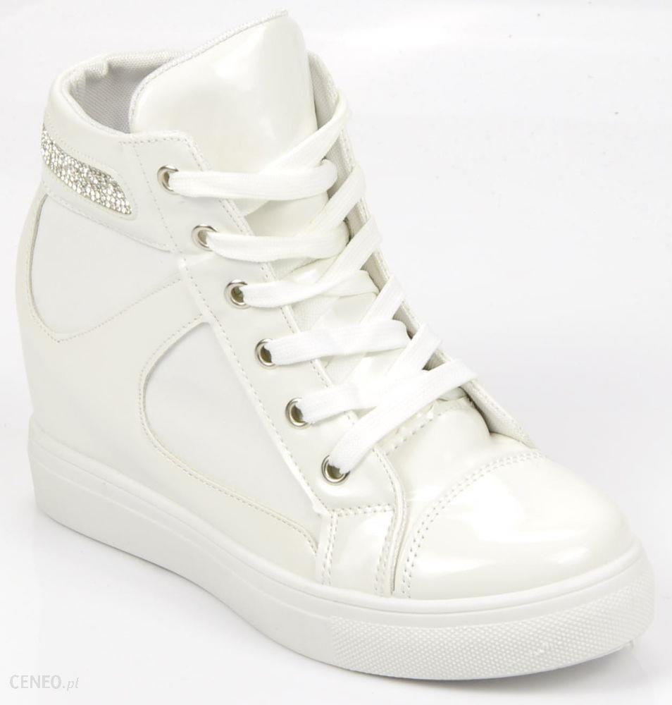 Trampki sneakersy na średnim koturnie BIAŁE