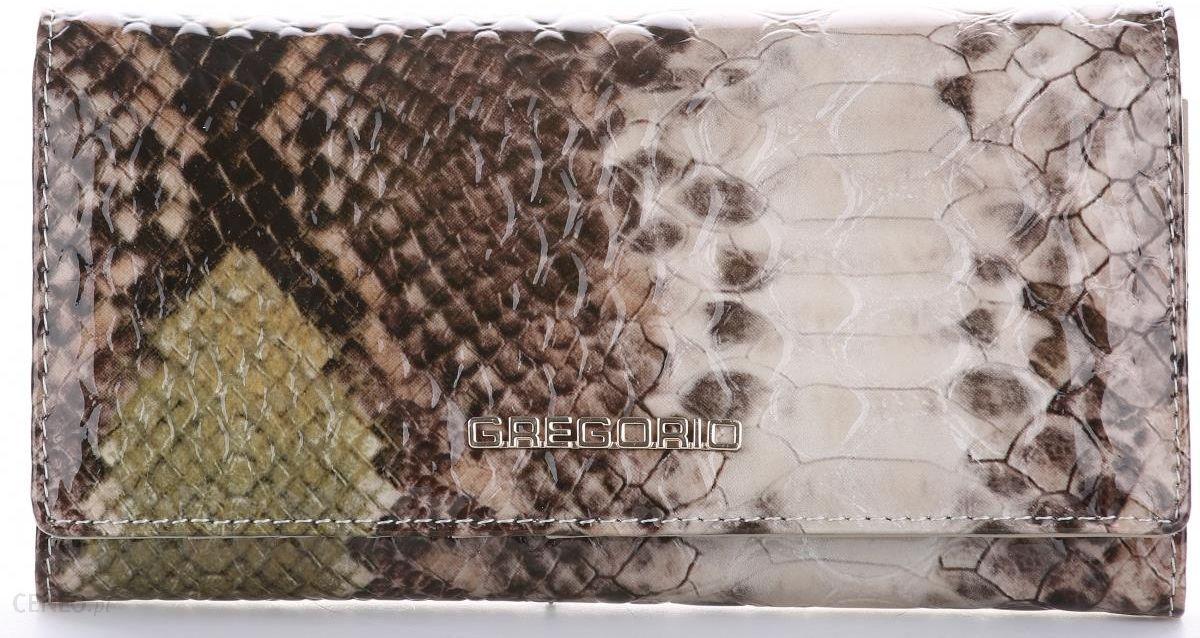 03afe4042daaf Duże Portfele Damskie Skórzane firmy Gregorio Lakierowana Skóra Węża  Zielony - zdjęcie 1