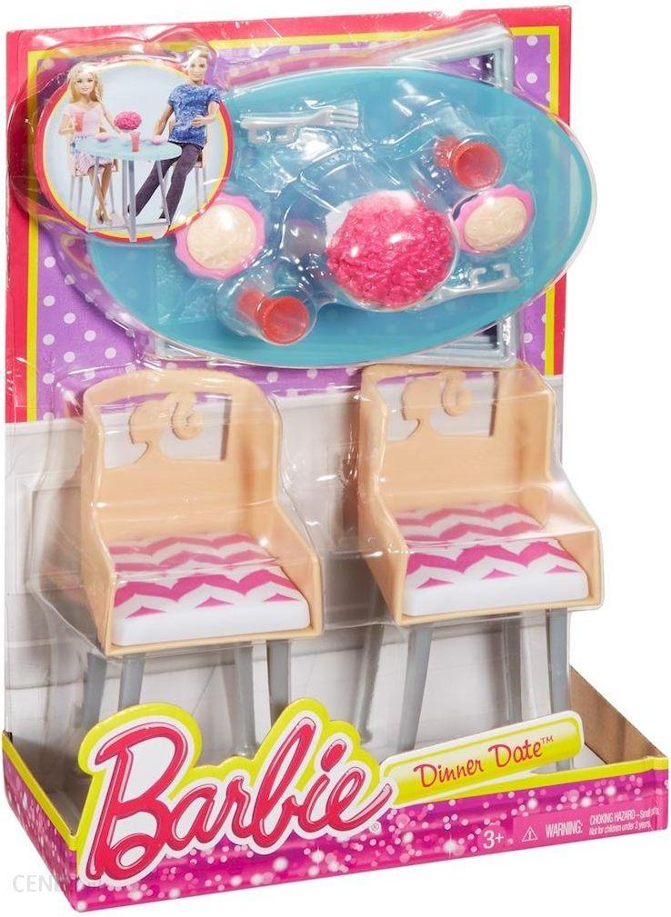 Barbie Meble Do Jadalni Stol Krzesla Akcesoria Dtj68 Ceny I