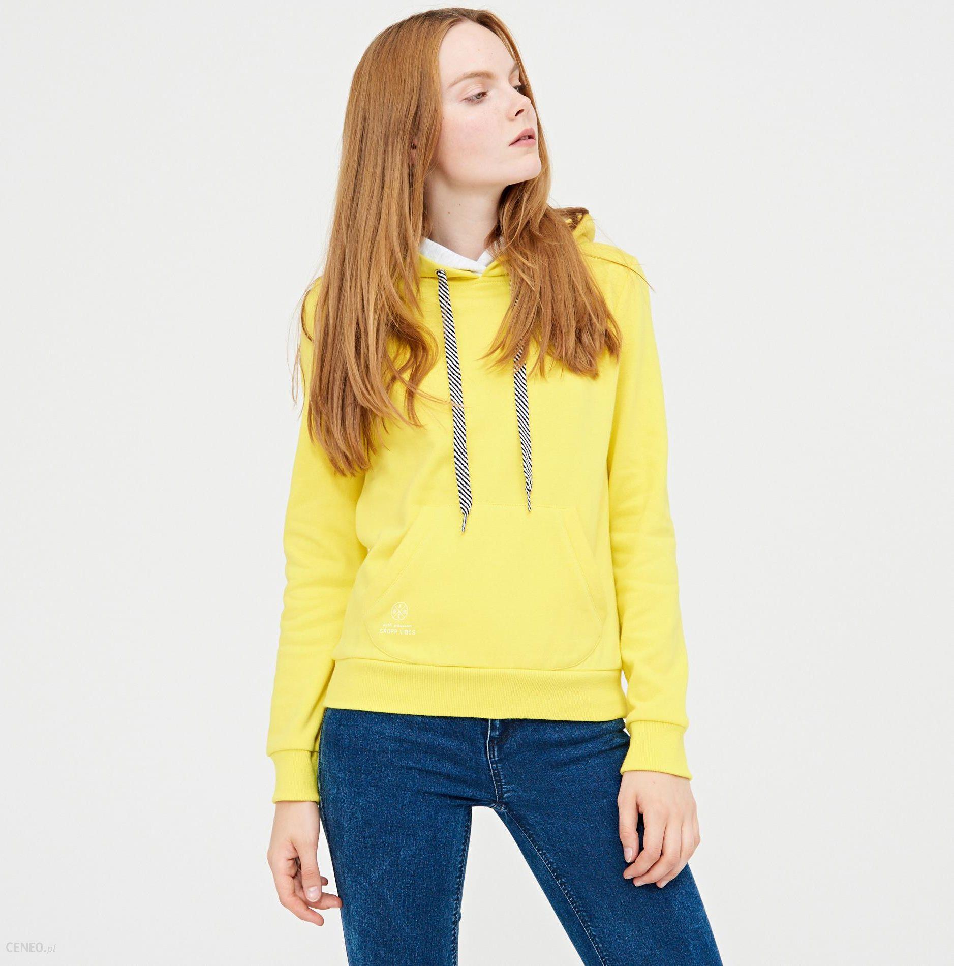 Cropp Miękka bluza z kapturem Żółty Ceny i opinie