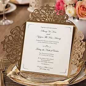 Wrap Pocket Wedding Invitations 20 Invitation Cards Classic Style Embossed Paper Ceneo Pl