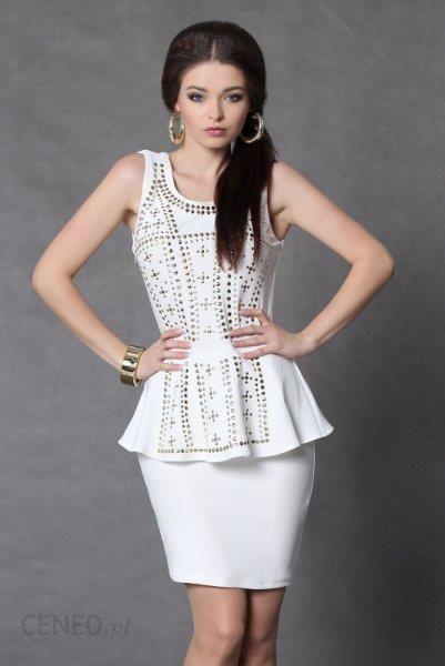 16f54f45ff 4009-3 Sukienka baskinka ze złotymi dżetami - biały - Ceny i opinie ...
