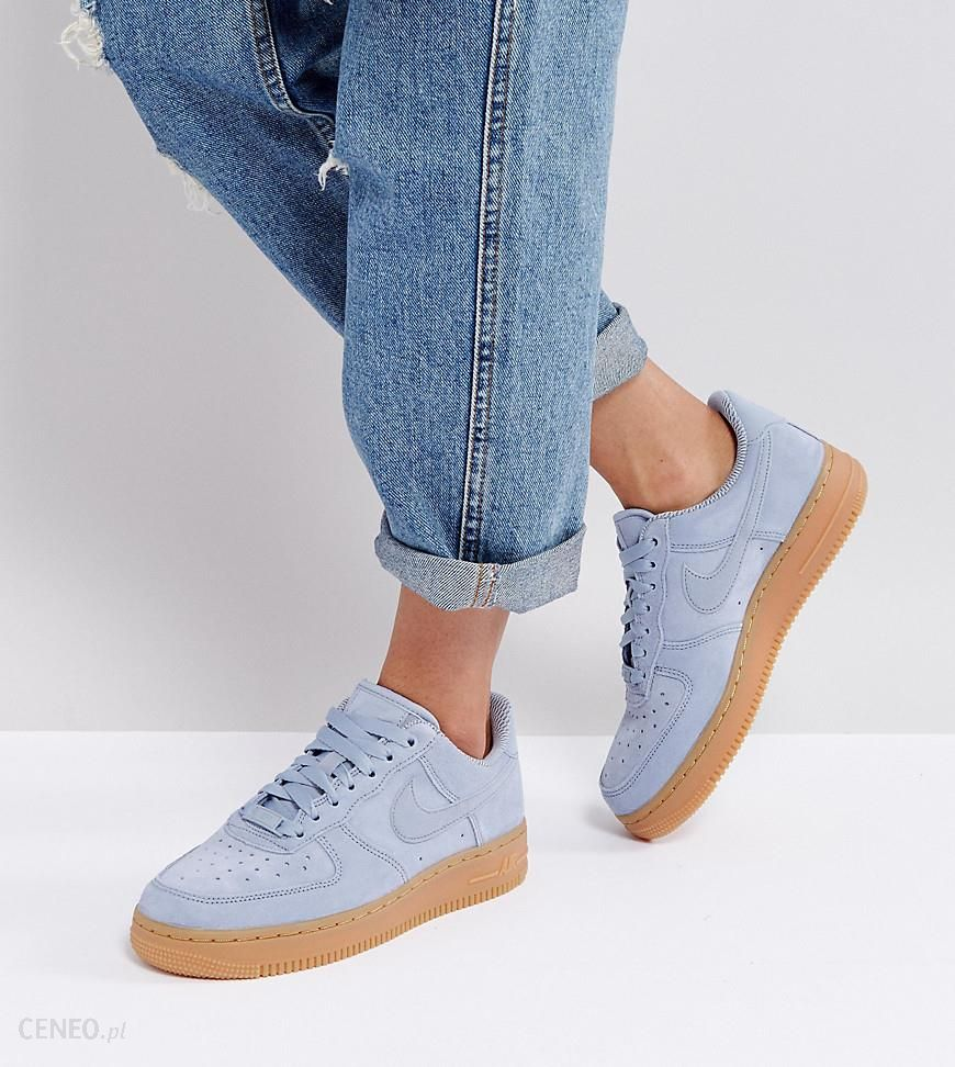 Nike Air Force 1 '07 Trainers In Glacier Blue Suede With Gum Sole Grey