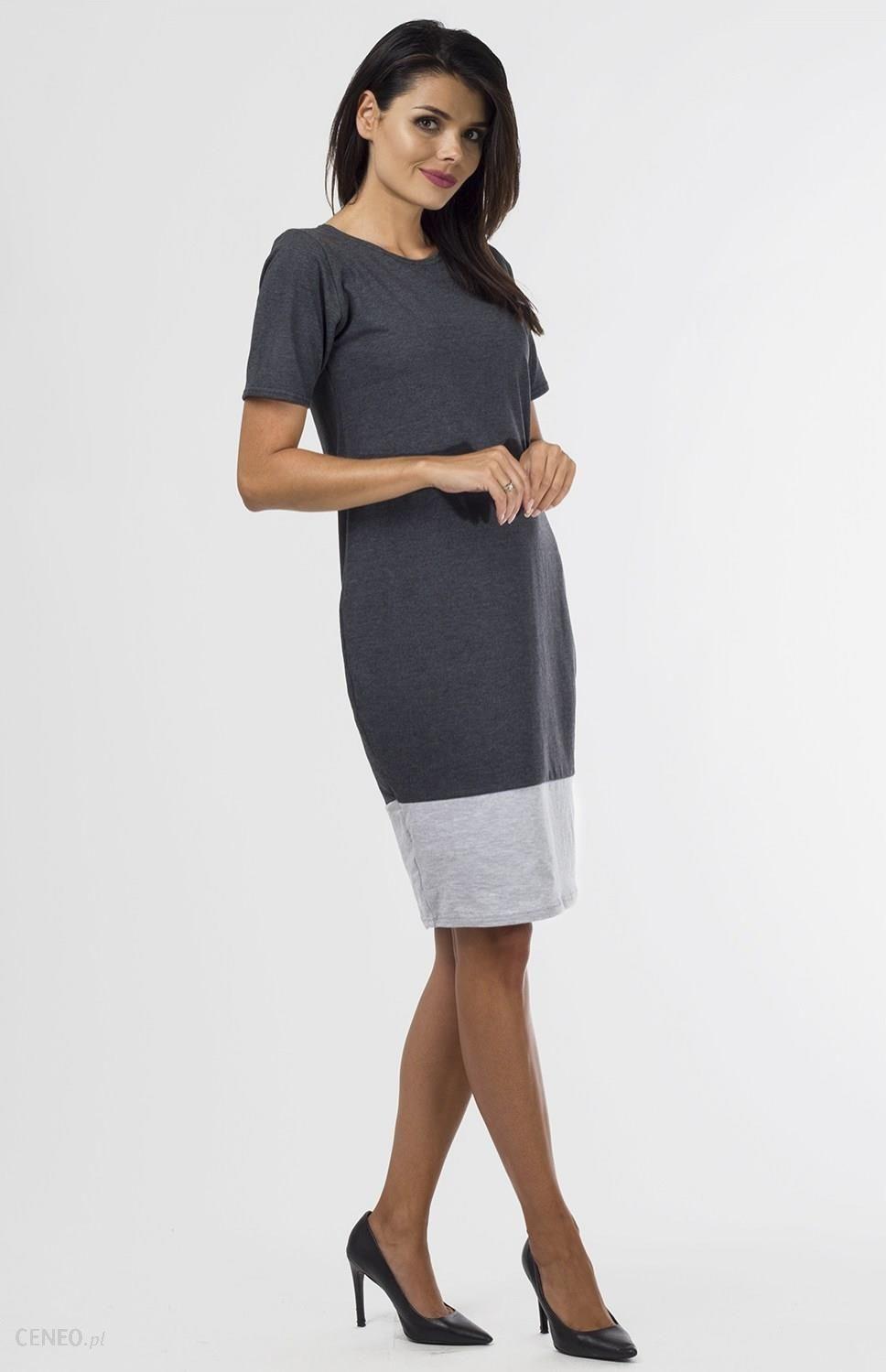 524460dfa4 Sukienka dzianinowa B-033 Graphit Gray Melange - Ceny i opinie ...