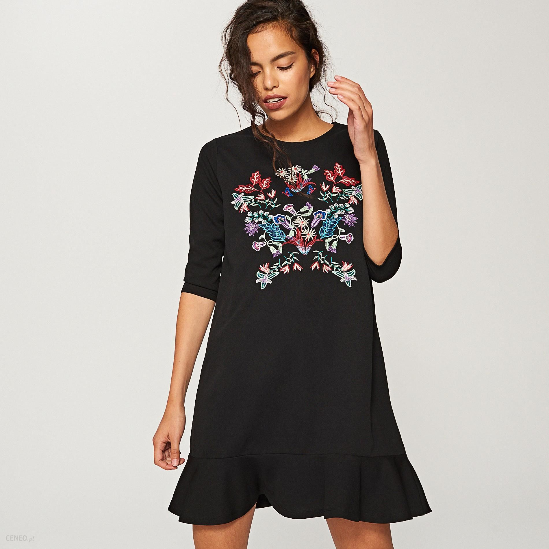 02b0300b4e32f3 Reserved - Sukienka z kwiatowym haftem - Czarny - Ceny i opinie ...