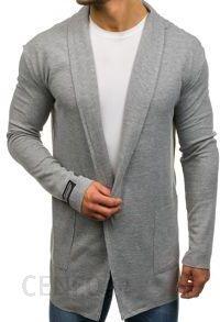 Długi sweter męski rozpinany szary Denley 0908