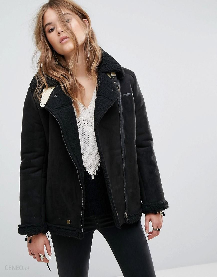 2ec8a64bf86 Moon River Lace-Up Sleeves Faux Suede Jacket - Black - zdjęcie 1