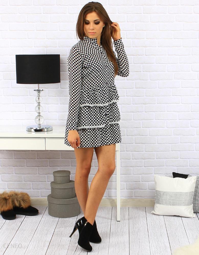 e7fd0af0fb Sukienka Retro Pin-up w szachownicę biało-granatową (ey0173) - zdjęcie 1