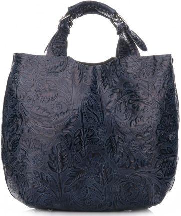 dd968d6b89092 Duża Torba Skórzana typu ShopperBag w oryginalny wzór liści firmy Genuine  Leather Niebieskie ...