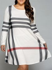Plus Size Vertical Striped T-Shirt Dress