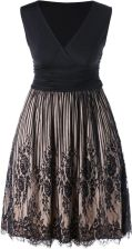 Plus Size Surplice Lace Panel Dress