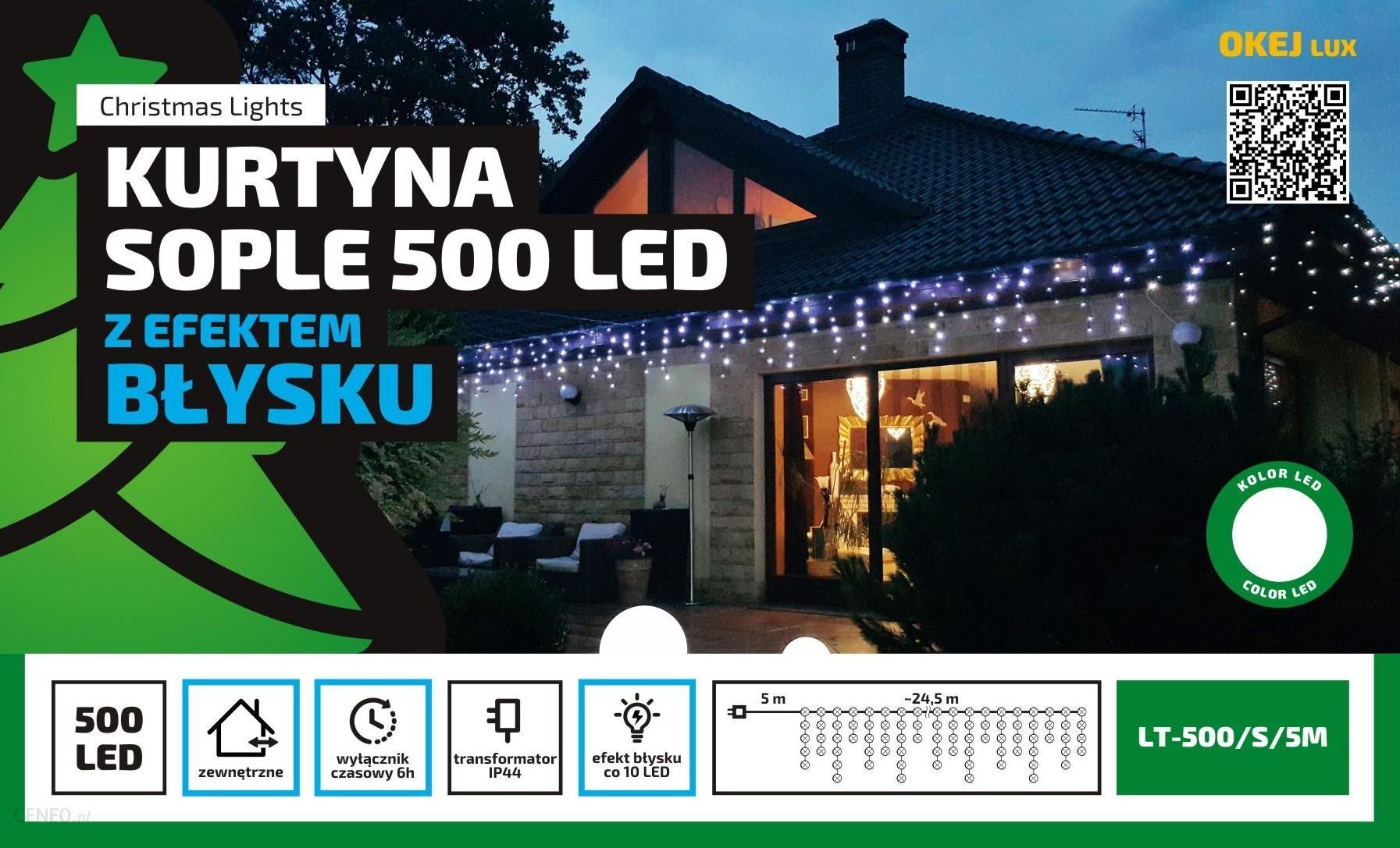 Lampki Zewnętrzne Kurtyna Sople Girlanda Dł 245 M 500 Led Migające Wył Czasowy Oświetlenie świąteczne Nr 0447