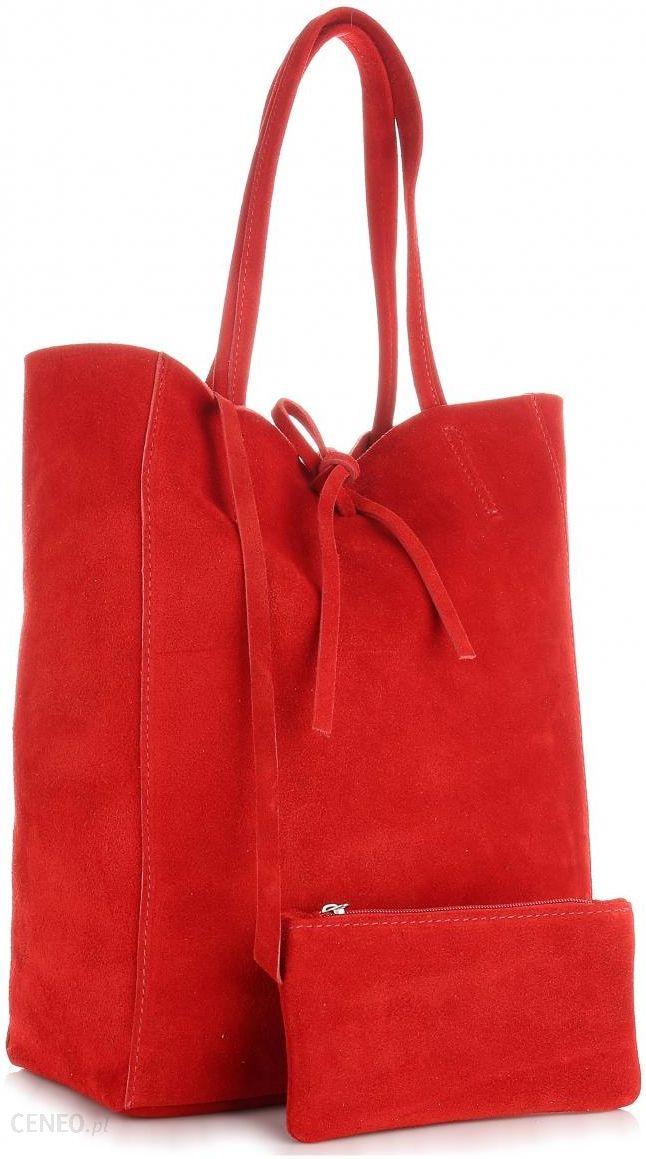 479021053ac8a Modne Torebki Skórzane typu ShopperBag z Etui Zamsz Naturalny Wysokiej  Jakości Czerwona (kolory) -
