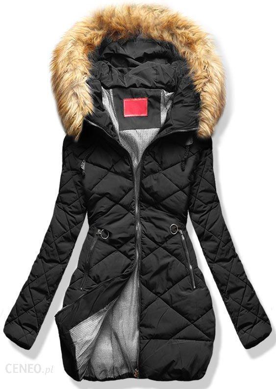 kurtka pikowana z kapturem i kożuszkiem od wewnątrz