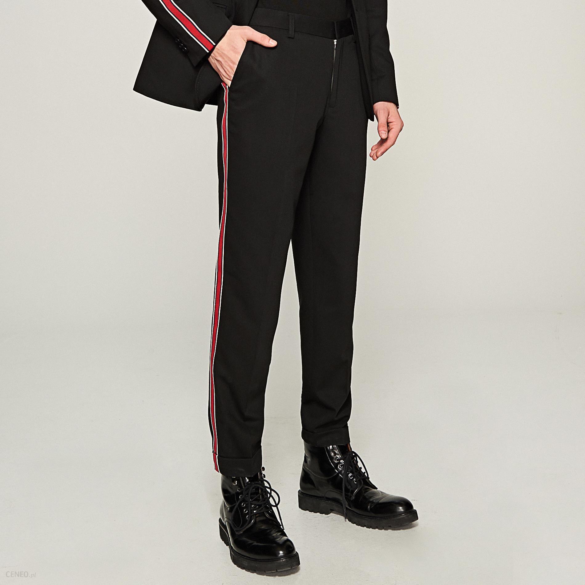 męskie modne spodnie z lampasami