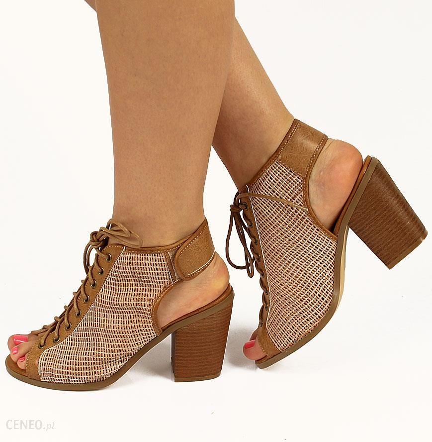 009a14b8be17da Brązowe sandały wiązane na słupku z siateczką Monnari - Ceny i ...