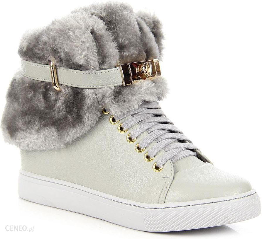 504975ca54ad Szare sneakersy na koturnie z futerkiem Lu Boo - j. szary - Ceny i ...