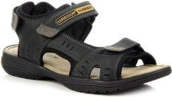 20bde115e99d1 Skórzane sandały męskie czarne na rzepy Gregor 1192 - czarny - Ceny ...