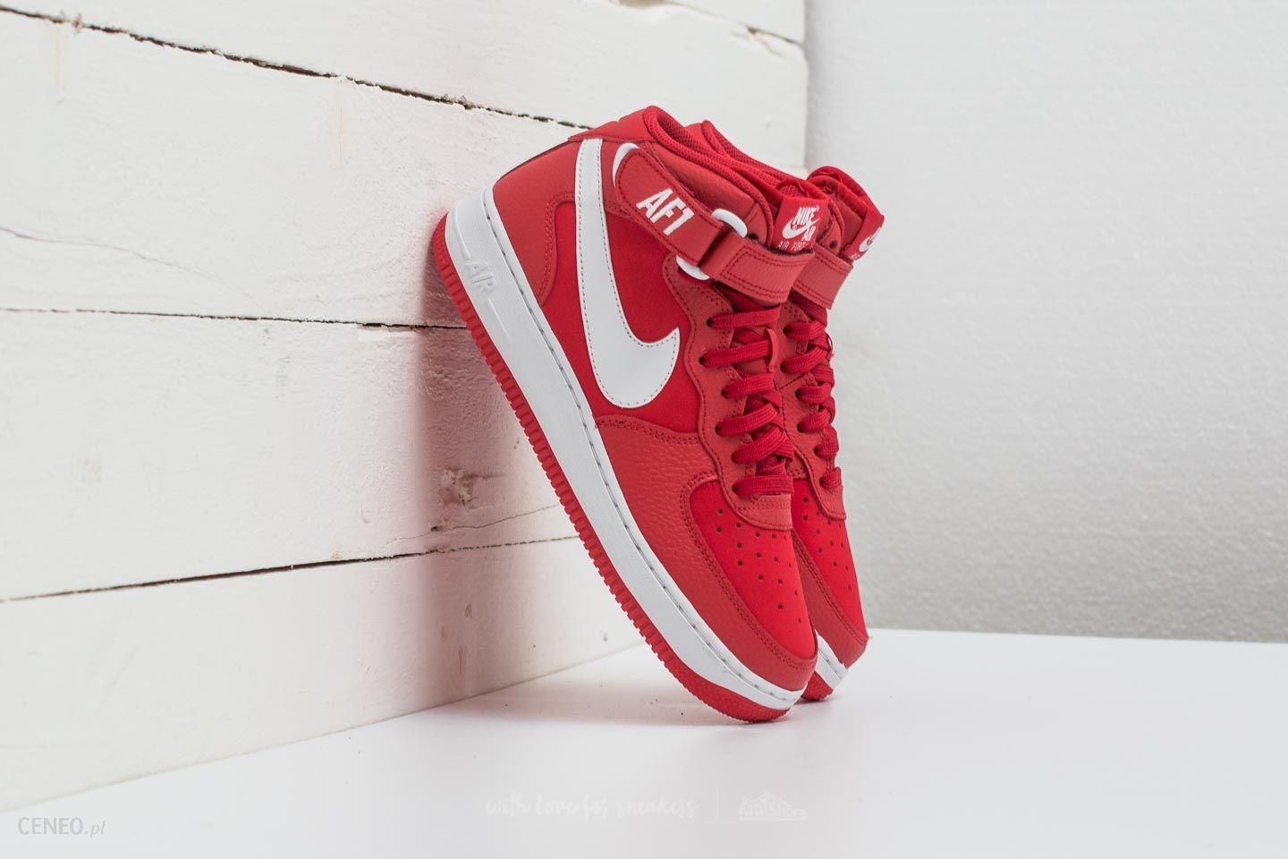 Nike Air Force 1 Mid (GS) University Red White Ceneo.pl